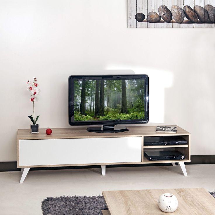 Sopra - Meubles télé-Meubles, Accessoires TV Meuble TV style scandinave coloris chêne/blanc L165cm