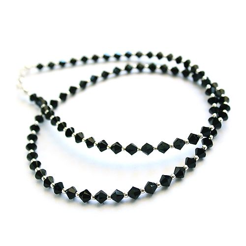 Black Swarovski crystals. Modest necklace.