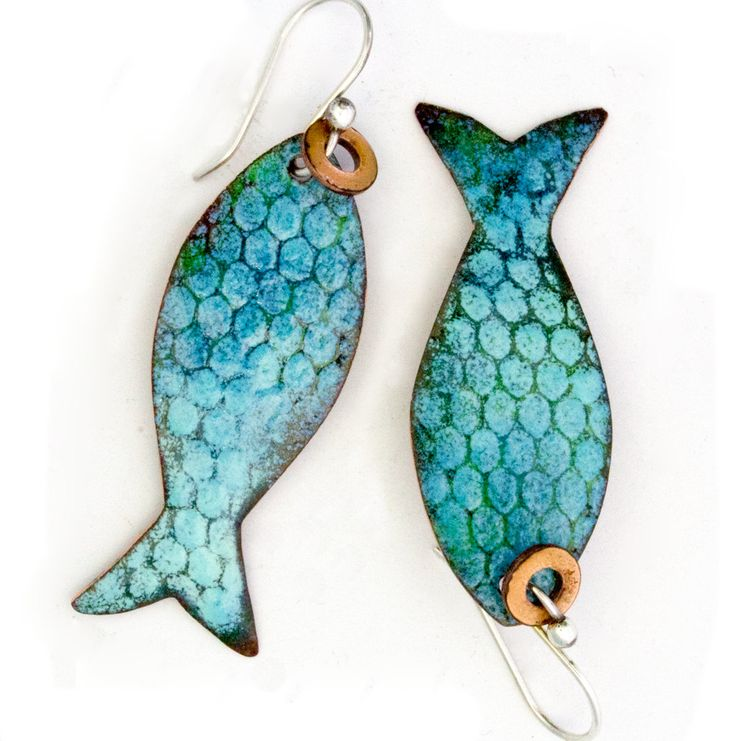 Pisces - Catch of the Day Enameled FishEarrings by markasky on Etsy