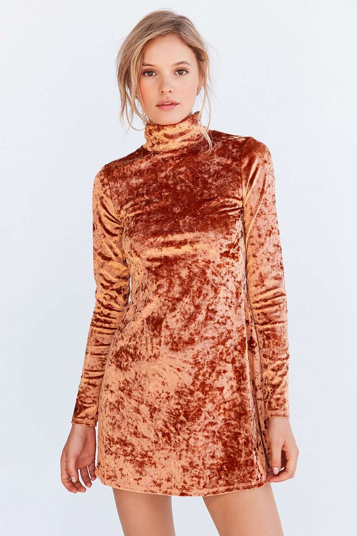 Kimchi Blue Crushed Velvet Mock-Neck Mini Dress - Urban Outfitters