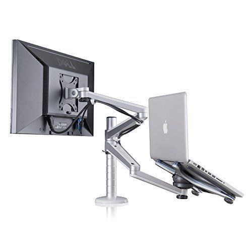 Adjustable Aluminium Universal Laptop Notebook U0026 Computer Monitor Stand Desk  Mount Bracket Clamp Tilt Swivel Dual