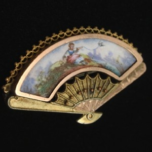 vintage brooch hand fan