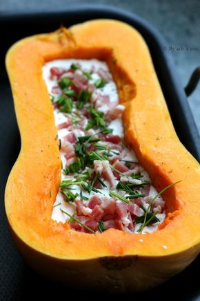 Butternut squash with lardons and chevre (goat cheese) is a dish easy to make for the fall season!