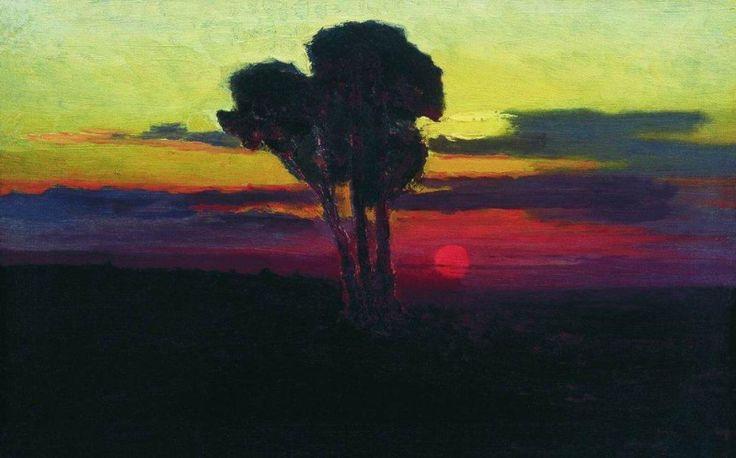 Закат с деревьями. 1876-1890. Куинджи Архип Иванович  (1842-1910)
