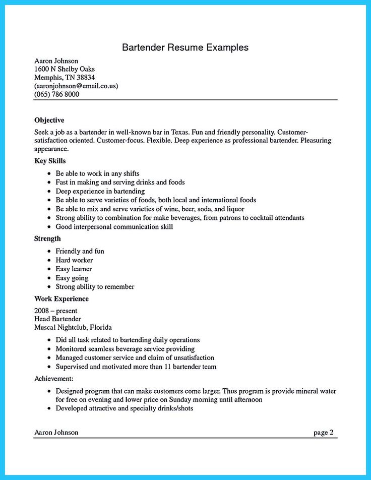 74 best resume images on Pinterest Productivity, Resume and Gym - examples of bartending resumes