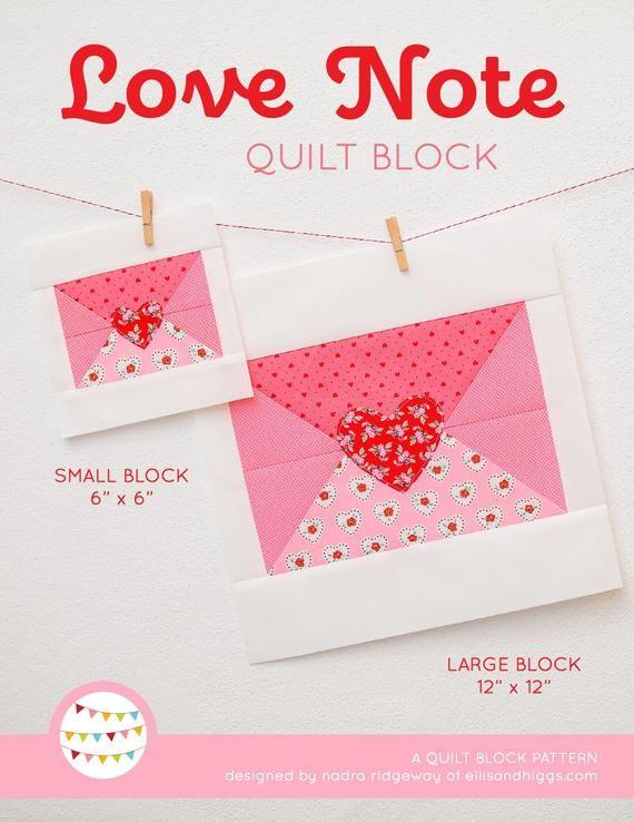 PDF Valentine's Day Quilt Pattern Love Note Envelope