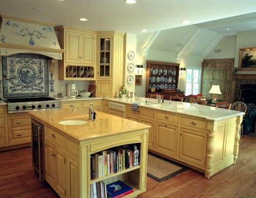 yellow with blue french country kitchen pinterest