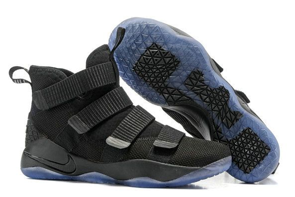 39766b279bc08 Cheap Lebron Soldier 11 Black Light Blue