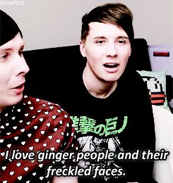 everything about this is perfect...Phil used to be ginger i his childhood, and the way Dan looked at him made it seem like he knew, and then Phil looked at the camera like OH GOD