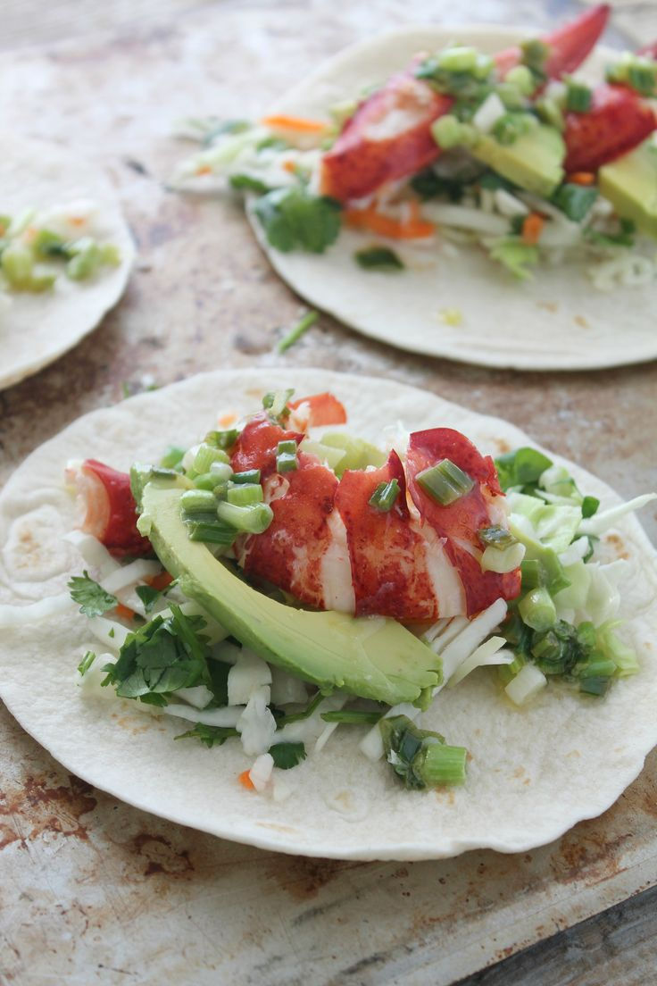 Lobster tacos with warm scallion butter