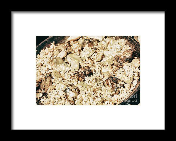 Traditional Valencian Paella With Rice And Chicken Framed Print