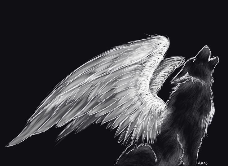 Black And White Mystical/Fantasy Howling Wolf Drawing With