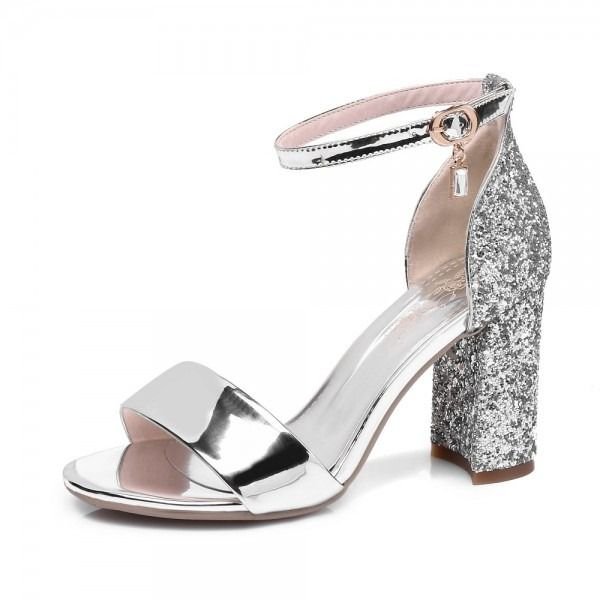 Silver Thick Heels