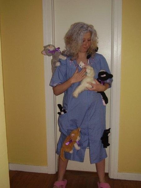 Haha good Halloween costume! Cat lady!