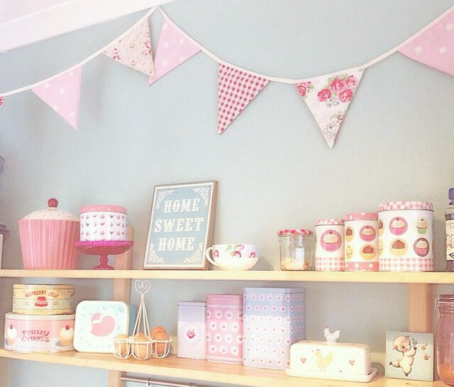 My duck egg blue kitchen with Cath Kidston bunting, IKEA shelves, rusty the fox lunchbox and Laura Ashley sign