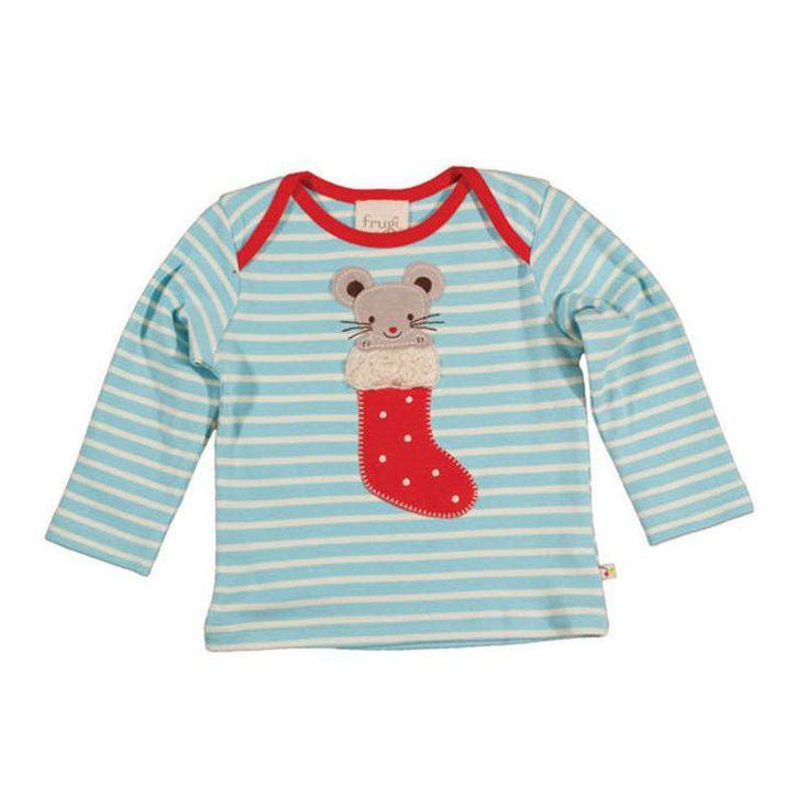 Όμορφο Χριστουγεννιάτικο ριγέ μπλουζάκι φάκελος για μωρά με ένα ποντικάκι, από απαλό οργανικό βαμβάκι. ...