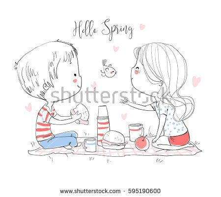 Happy couple in love at a picnic.