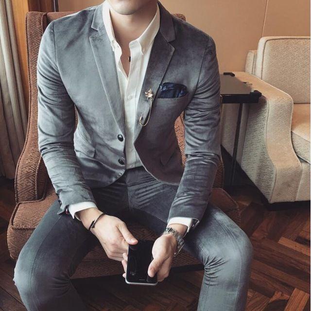 2017 Custom made Ternos De Veludo Dos Homens Da Moda Dos Homens Vestido Formal Conjunto terno dos homens ternos de casamento do noivo smoking homens baile terno (Paletó + Calça)