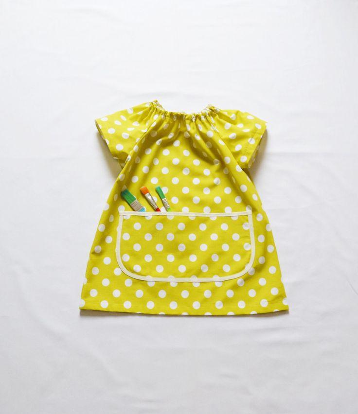 Art Smock Girls Short Raglan Sleeve Painting Apron Yellow White Polka Dots Elastic Finish Tablier Enfants Petit Pois Filles Ecole by FrenchStarKids on Etsy