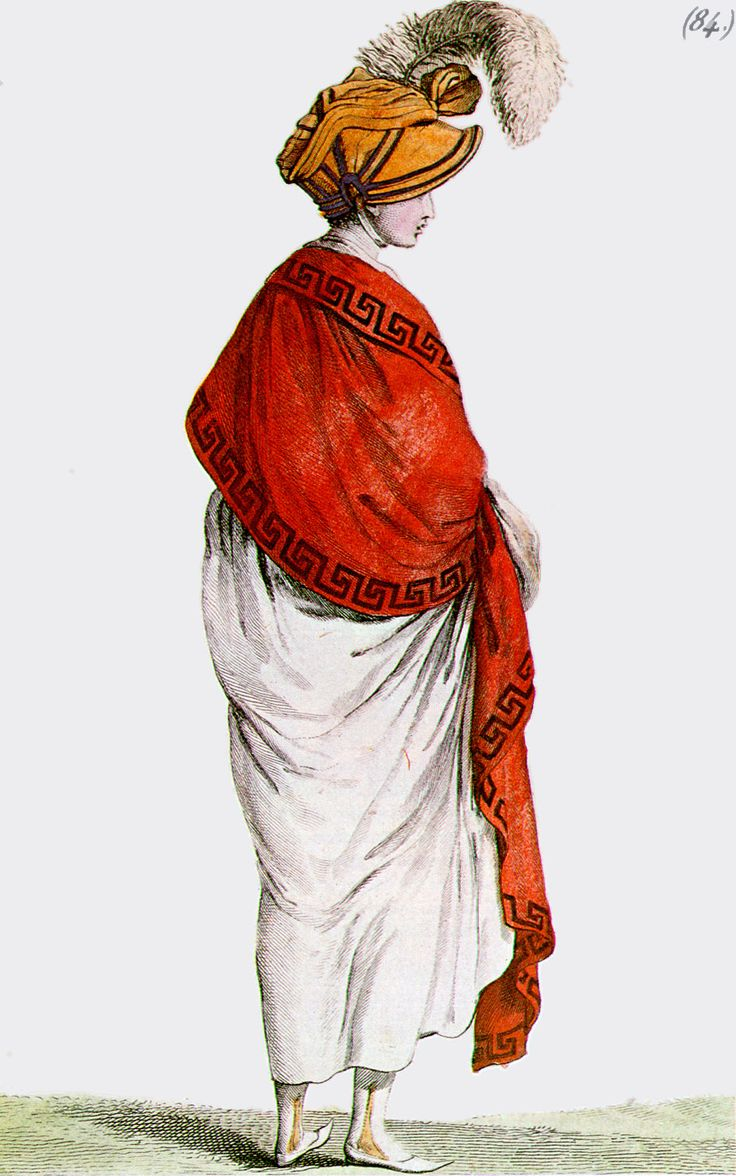 Regency fashion plate the secret dreamworld of a jane austen fan - Red Shawl With Greek Key Border Contrasting With White Directoire Gown From Costume Parisien 1799