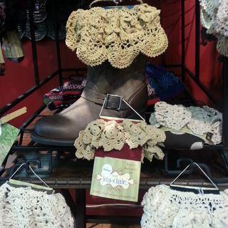 Hand crochet boot socks