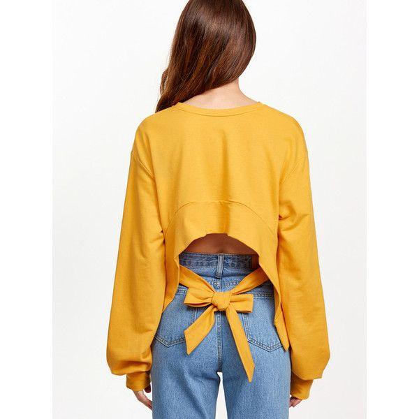 Yellow Split Sleeve Bow Tie Crop Back Sweatshirt ($23) ❤ liked on Polyvore featuring tops, hoodies, sweatshirts, yellow, crop top, sweatshirt hoodies, yellow hooded sweatshirt, hoodie crop top and yellow sweatshirt