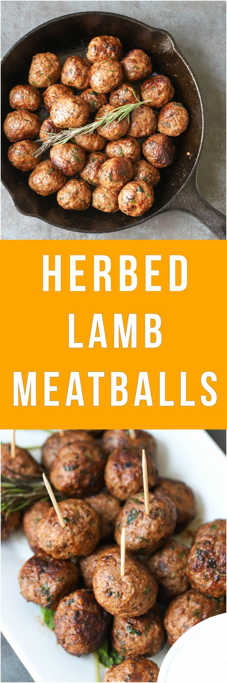 Easy Herbed Lamb Meatballs are packed with flavors from roasted cumin and freshly chopped herbs and are quick to make. They are great for game day parties or hosting a large crowd. These meatballs are naturally gluten-free, paleo, and whole - 30 approved.   #paleo #gamedayfood #whole30approved