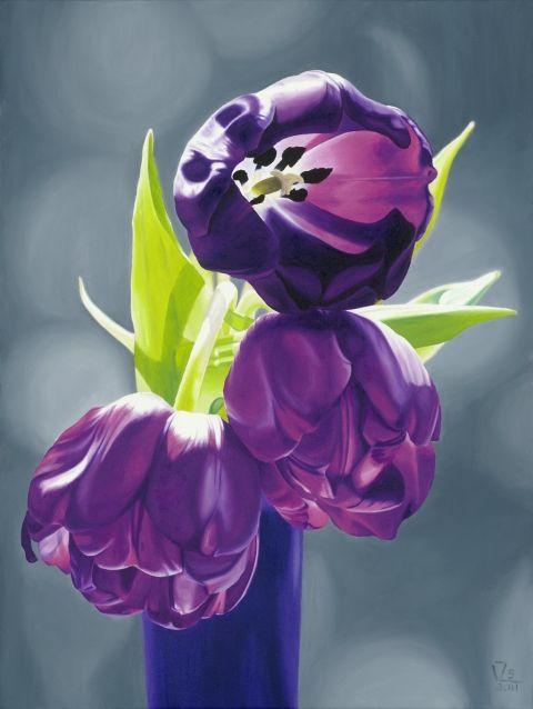 HazyAfternoon - Tulipánok III. - olajfestményről készült Giclée nyomat, Dekoráció, Otthon, lakberendezés, Képzőművészet , Falikép, Meska #tulip #purple #oil #painting #print