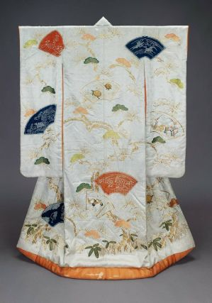Wedding kimono (uchikake)  Japanese, Edo period, 19th century, Satin damask (rinzu); tie resist-dyed (kaneko shibori), embroidered in silk, couched with gold-wrapped thread, Long-sleeved outer robe (uchikake) for a wedding with design of decorated fan papers, bamboo, plum, pine, tortoises and cranes in pink, orange, blue and green created by tie-dying, silk embroidery and gold metallic thread couching on a white silk damask ground; lined with reddish-orange silk and padded at the hem. MFA