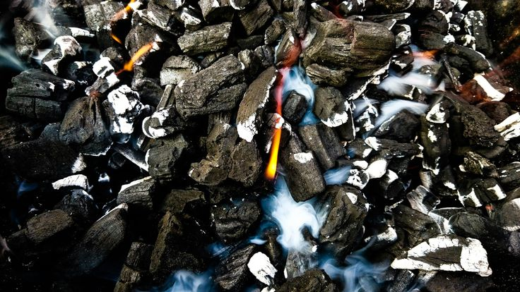 Fire smoke and coal... Bbq close up