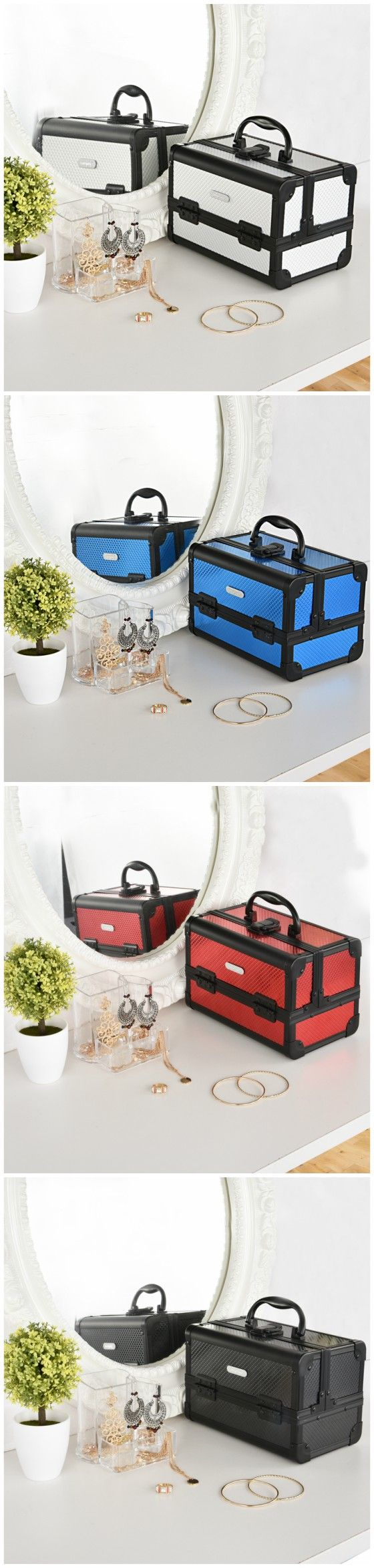 Silver/Red/Blue/Black Diamond Professional Makeup Train Case with Mirror--Joligrace Travel makeup case with mirror Artis makeup case Makeup vanity with storage Makeup organizer with mirror Best makeup case Big makeup case Cheap makeup organizer Cosmetic train case Makeup case with brush holder Makeup organizer with drawers Makeup case with lock Makeup artist train case Portable makeup case