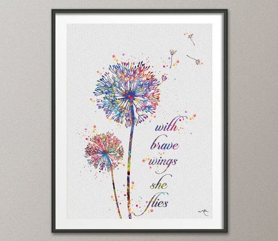 Dandelion Quote Watercolor Print Wedding Gift With by CocoMilla