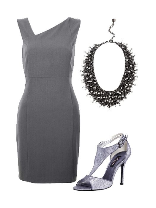 How to accessorize a gray cocktail dress