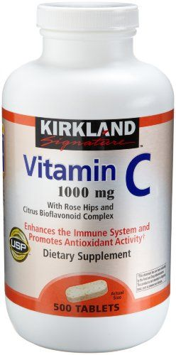 Kirkland Vitamin C with Rose Hips and Citrus Bioflavonoid Complex (1000 mg), 500-Count Tablets Kirkland Signature,http://www.amazon.com/dp/B002CQUFYG/ref=cm_sw_r_pi_dp_6F7rtb1C586M9EVZ