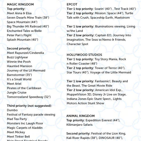 Free touring plans for Magic Kingdom, Epcot, Animal Kingdom, Hollywood Studios