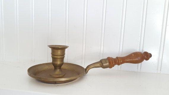 Chamberstick ottone supporto di candela con un manico di