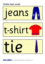 Clothes topic word cards (SB224) - SparkleBox