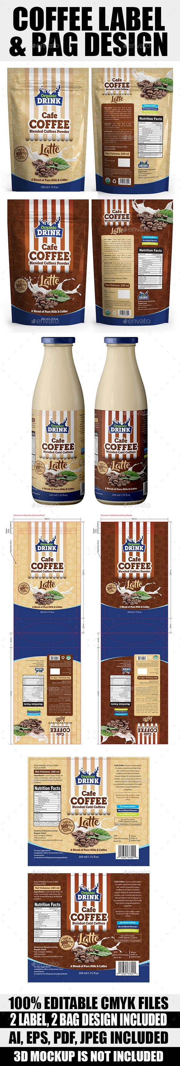 Coffee Label & Bag Templates - #Packaging Print #Templates Download here: https://graphicriver.net/item/coffee-label-bag-templates/19193472?ref=alena994