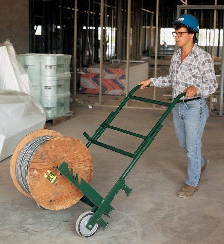 Greenlee 916 Cable Reel Transporter by Greenlee. $655.41. From the Manufacturer                All steel welded frame with heavy-duty wheels. Unique design provides easy setup for cable payout. Handle folds to save space when using as a dispenser. Holds reels of cable or BX up to 20-Inch (508 mm) W and 40-Inch (1016 mm) in diameter maximum total reel weight 300-Pounds.                                    Product Description                Today Greenlee is the ...