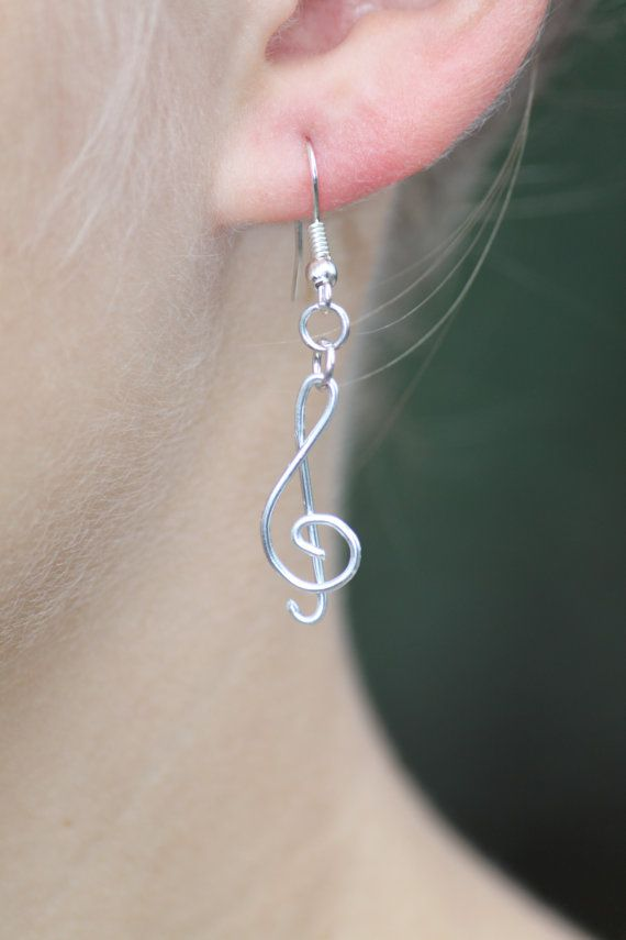 Use PINXMAS coupon code for 10% discount! Until Dec. 31 Treble clef shanped aluminium earring by DeaJewelleryStore on Etsy