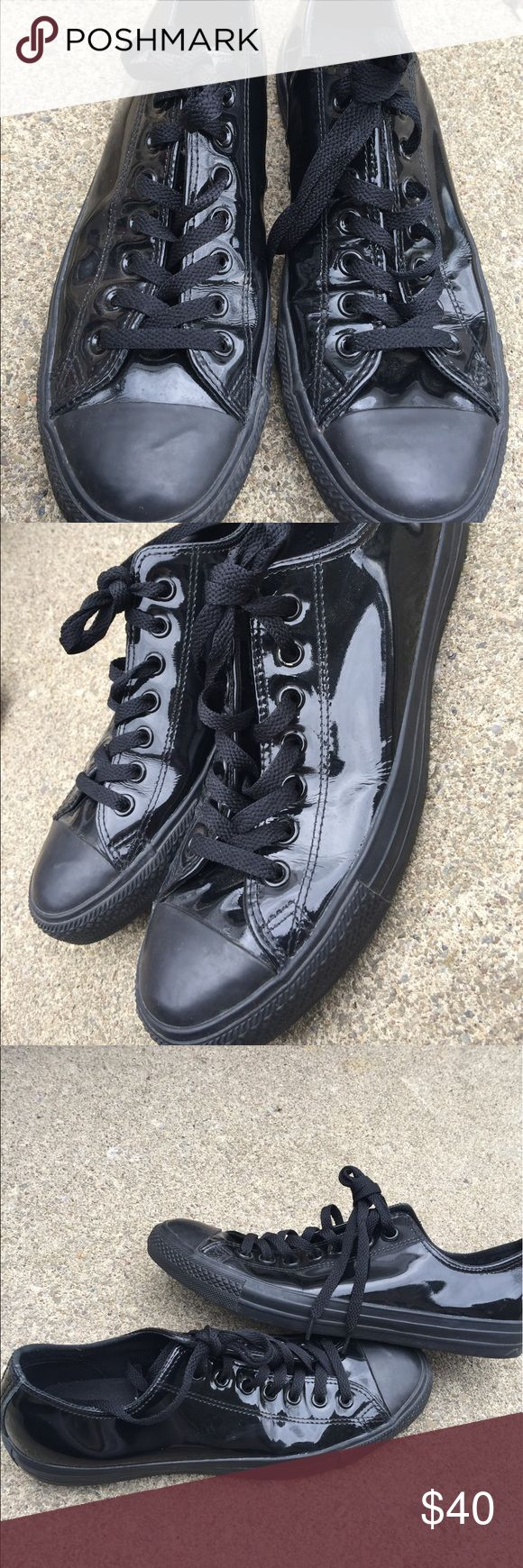 Men's Converse Black Patent Leather Sneakers 9.5M Men's Converse Black Patent Leather Sneakers 9.5M Awesome Condition Converse Shoes Sneakers