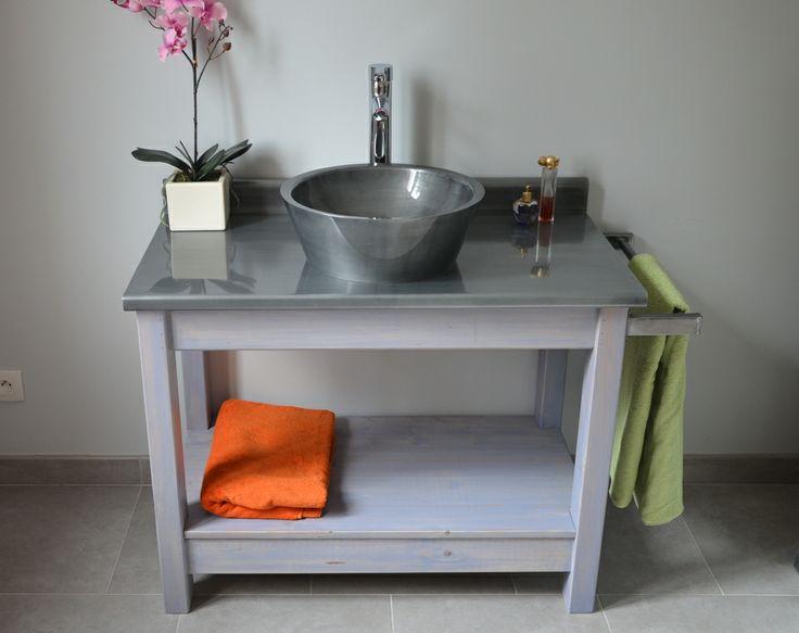 meuble de salle de bains plan et vasque en zinc artisan cr ateur de produits indoor et oudoor en. Black Bedroom Furniture Sets. Home Design Ideas