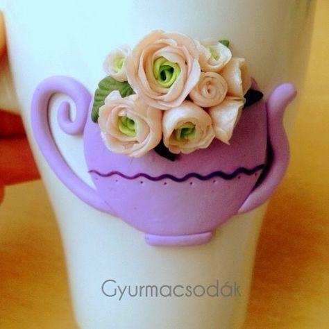 Sales contact: https://www.facebook.com/gyurmacsodak/ @csontosadri Polymer clay mug decorated with polymer clay flower roses handmade diy product Rózsák,rózsák mindenütt!  #polymerclay #fimo #decoclay #clayflowers #roses #peonies #mug #handmade #flowers #teapot #decoration #diy #kézzelkészült #ajándék #esküvő #menyasszony #rózsa #virág #etsy #gyurmacsodák