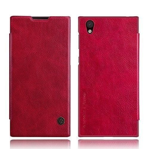 Sony Xperia L1 Leather Case PC Back Phone Protective Flip Cover Card Slot Red #SonyXperiaL1Case