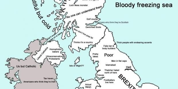 Let's be honest. Stereotypes of people living in different parts of the UK play a part in how we see the Great British isles. And it's important to keep up to date with these, because it feels like they're constantly shifting and evolving. Luckily, a new map of the UK has been uploaded to Reddit, showing the stereotypes of various areas and the people living there. It's kind of genius, if you can take a little light joking (Newcastle). Here are some of the best ones: