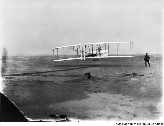 Flight 1903    On December 17, 1903, two bicycle mechanics from Ohio realized one of humanity's wildest dreams: For 12 seconds they were possessed of true flight. Before the day ended, Orville and Wilbur Wright would keep their wood-wire-and-cloth Flyer aloft for 59 seconds. Sober citizens knew that only birds used wings to take to the air, so without being at the site, near Kitty Hawk, N.C., or seeing this photo, few would have believed the Wrights' story. Although it had taken age...