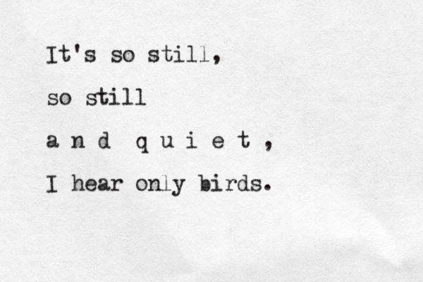 """""""It's so still, so still and quiet, i hear only birds"""""""