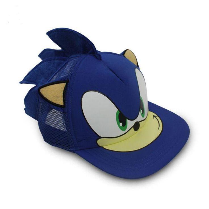 2016 Sonic The Hedgehog Cotton Adjustable Sun Hat Baseball Cap Summer Blue Hat Cosplay Costume For Men Women
