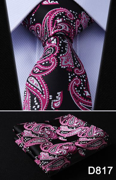 "Paisley Check Dot 3.4"" 100%Silk Wedding Jacquard Woven Men Tie Necktie Pocket Square Handkerchief Set Suit #D8"
