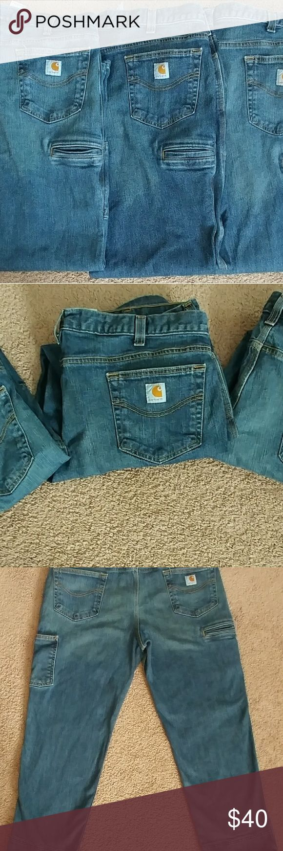 Mens Carhartt Jean Lot 3 pairs of Mens relaxed fit Carhart jeans size 40/32 . These are a tighter fitting jean and do not fit like a relaxed fit jean. Just like new. Carhartt Jeans